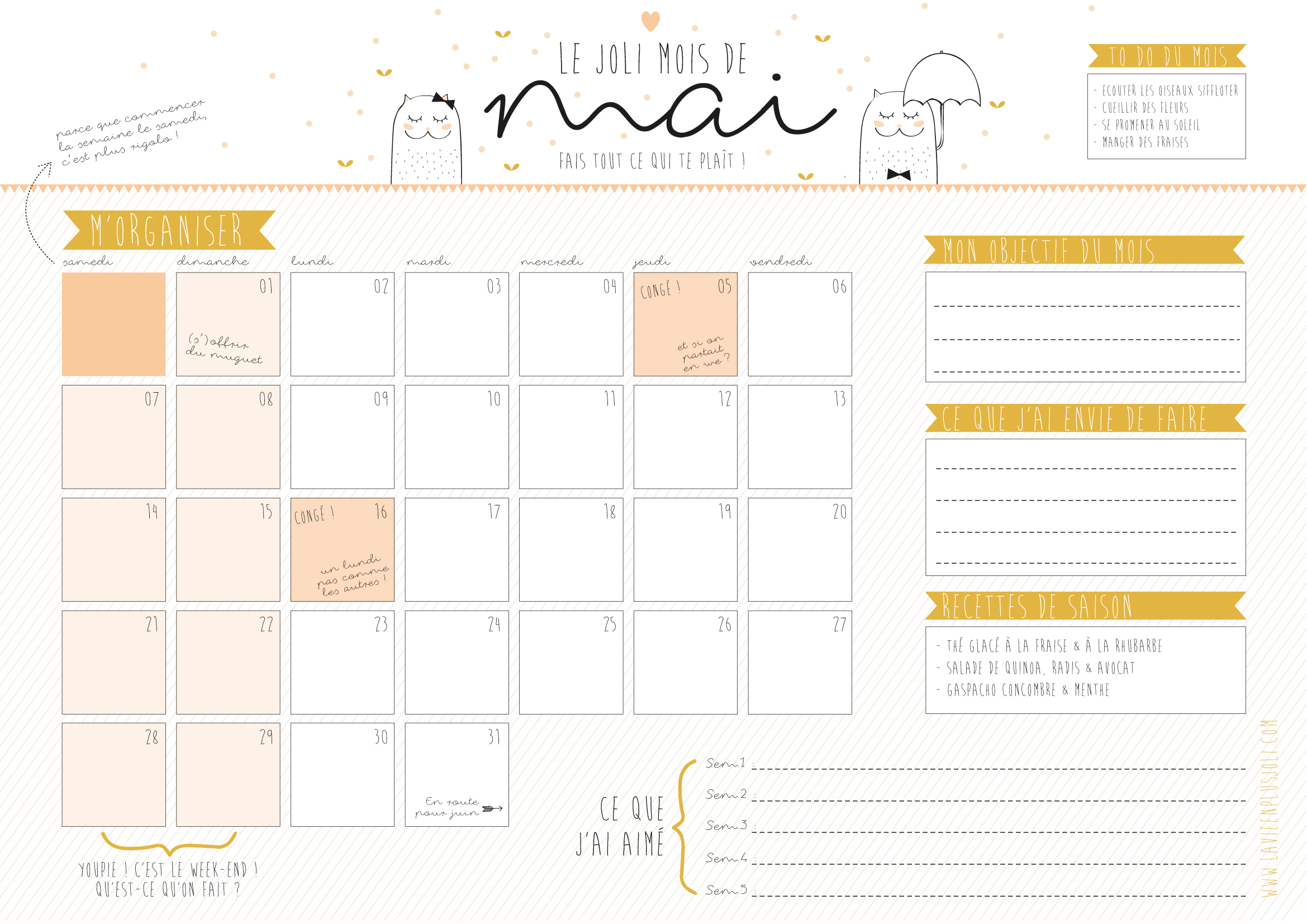 un calendrier du mois de mai imprimer la vie en plus joli. Black Bedroom Furniture Sets. Home Design Ideas