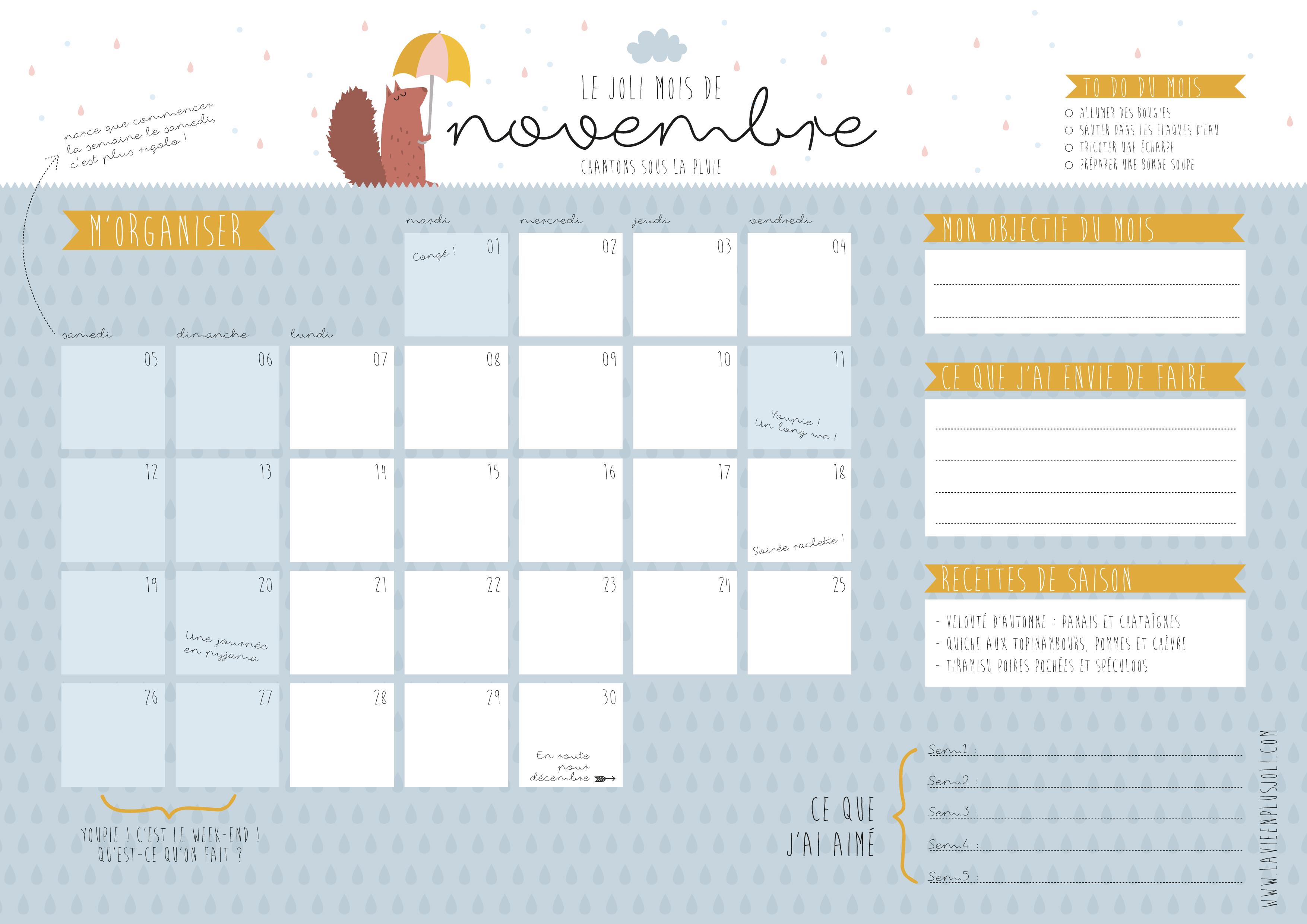 Calendrier A Imprimer Novembre 2019.Calendrier Du Mois De Novembre A Imprimer La Vie En Plus Joli