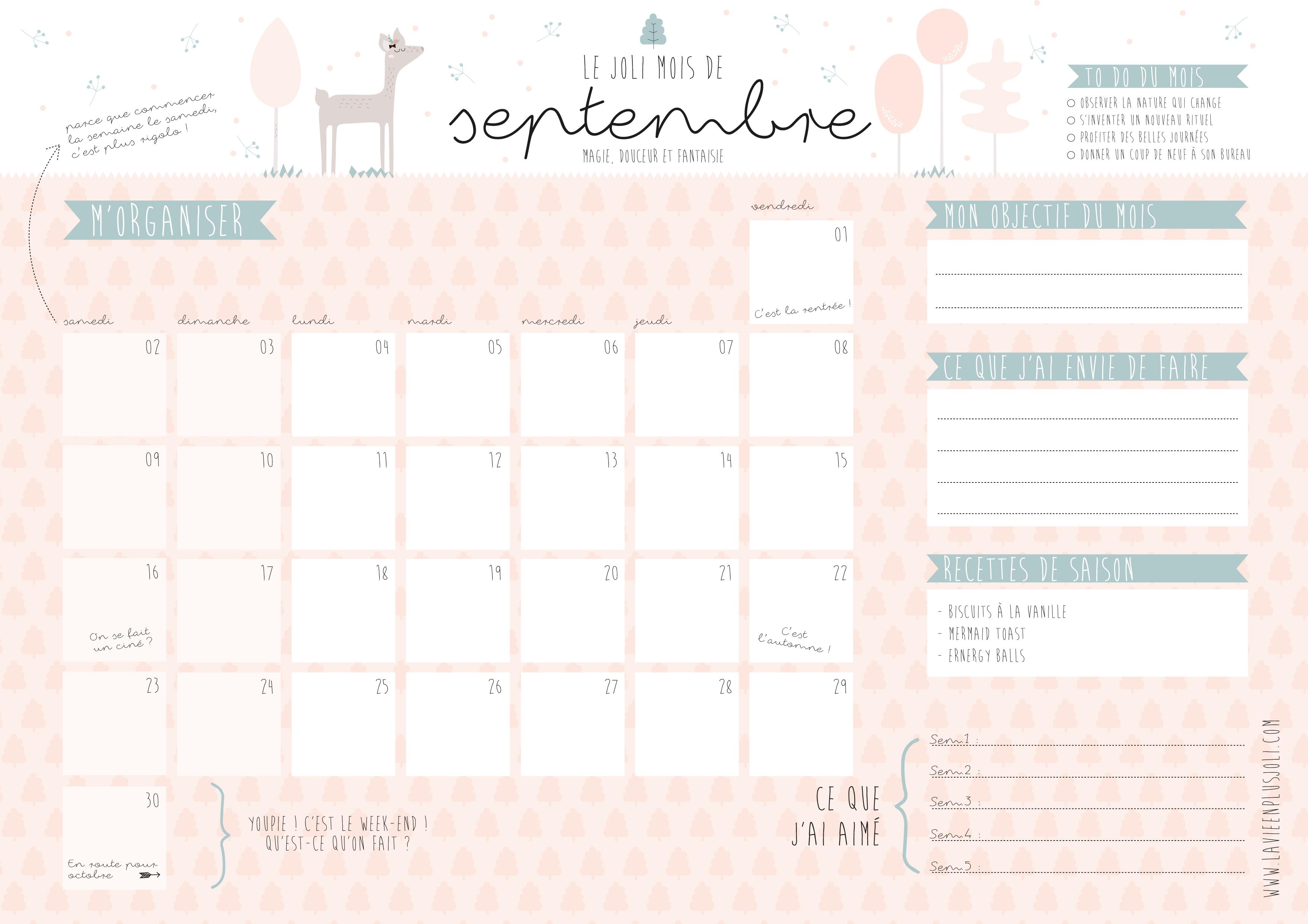 Calendrier Mois De Septembre.Calendrier Du Mois De Septembre A Imprimer La Vie En Plus Joli