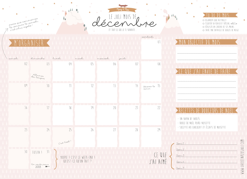 Calendriers Mensuels Decembre 2017 A Imprimer Gratuit