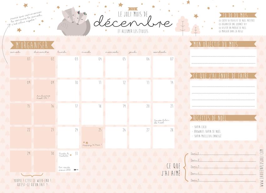 Calendriers Mensuels Décembre 2018 Gratuit à Imprimer